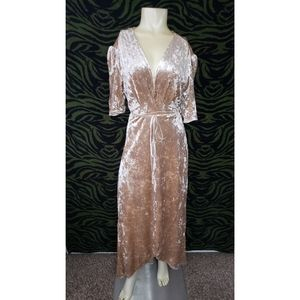 Champagne crushed velvet wrap maxi dress